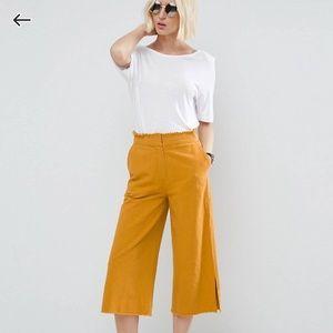 ASOS Wide Leg Linen Pants w/t Raw Hem & Waistband